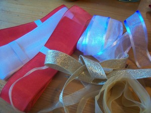Materials! Ok, one thrifty tip and then I'll stop: you can buy luxurious sparkly ribbon starting at around 25p a metre in a haberdashers. Cheaper than the highstreet. If you really want sparkly ribbon.
