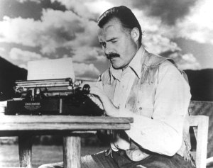 ernest hemingway with typewriter